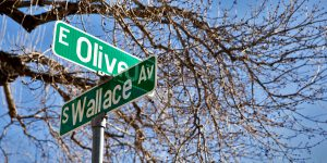 East Olive and South Wallace street signs intersection
