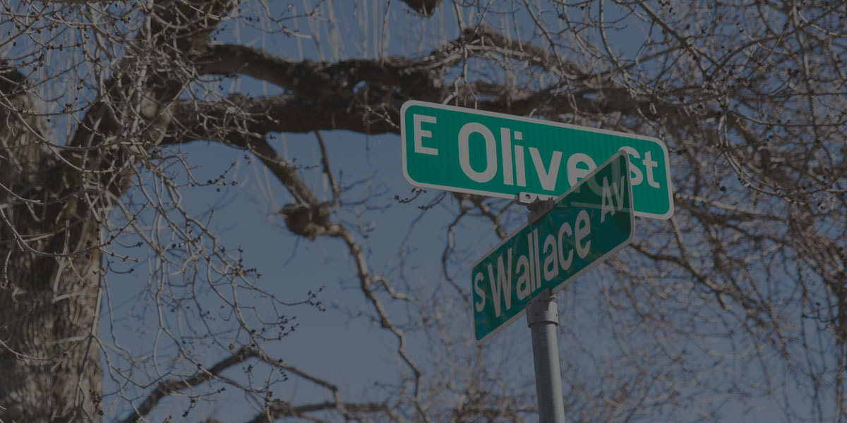 Olive and Wallace street sign intersection