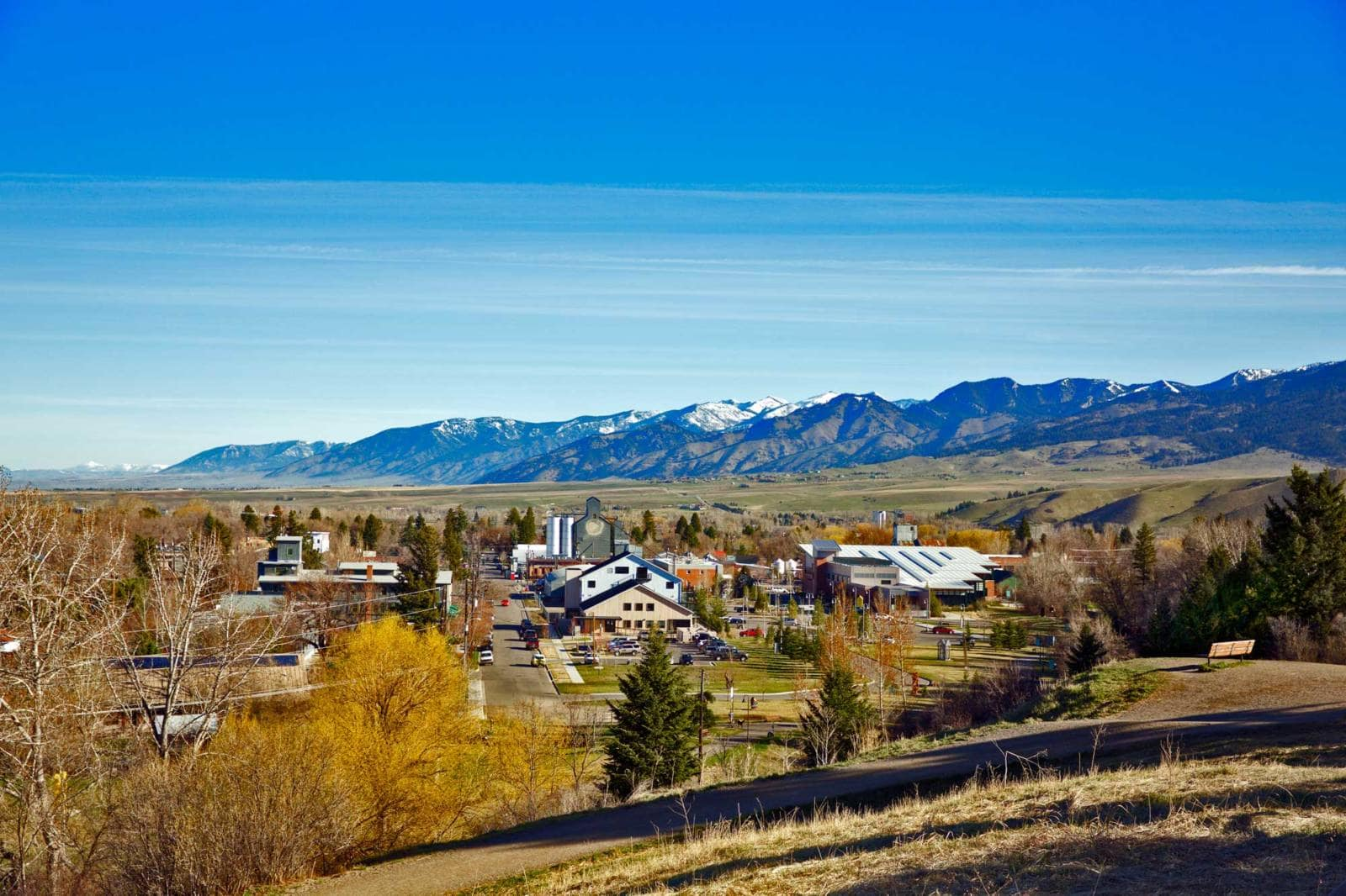 bozeman montana with bridger mountains in background