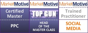 Market Motive certifications for Master PPC, Top Gun, and Trained in Social Media
