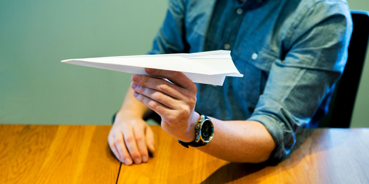 paper airplane building in Big Storm office in Bozeman, MT