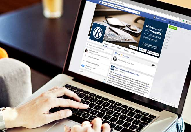 client viewing the Rudd&Co Facebook page managed by Big Storm in Bozeman, MT