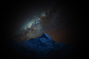 mountains with skyline and stars
