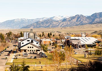 view of downtown Bozeman, Montana and the Bridger Mountains from the top of Peet's Hill