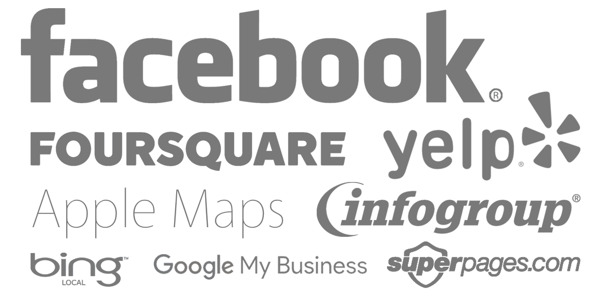 local citation logos including Facebook, Foursquare, Yelp, Apple Maps, Infogroup, Bing Local, Google My Business, and Superpages