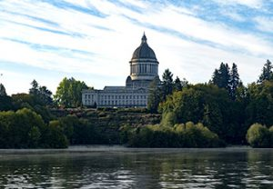 view of the capitol building surrounded by trees in Olympia, Washington from the water