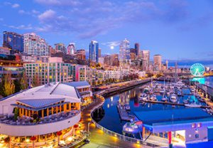 sunset view of Pier 66 in Seattle, Washington