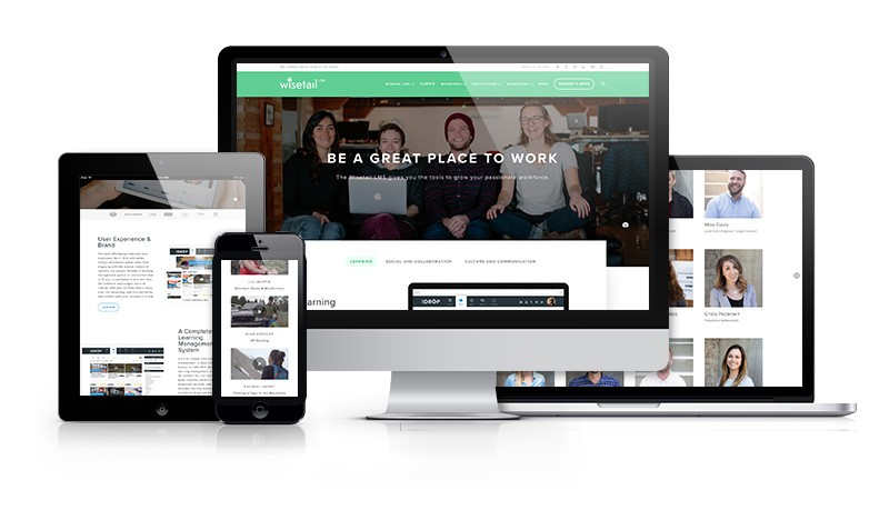 Wisetail website displayed on desktop devices and mobile responsive formats