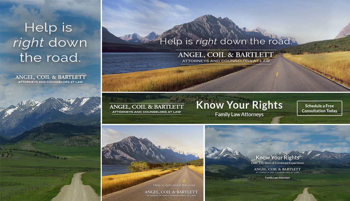 "Facebook advertisements for Angel Coil & Bartlett, reading ""Help is right down the road"" and ""know your rights"""