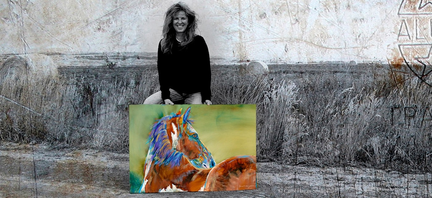 Carol with green horse painting