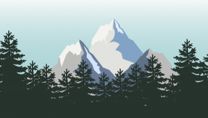 graphic illustration of mountains in a forest