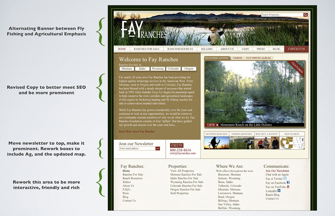 screenshot of Fay Ranches website