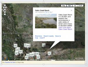 aerial view of a Google map of Cabin Creek Ranch