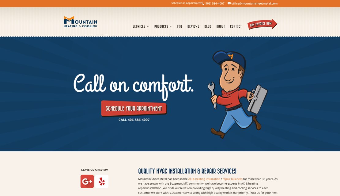 screenshot of the homepage from the Mountain Heating & Cooling website