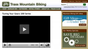 screenshot of a webpage for Traxx Mountain Biking for Right Now