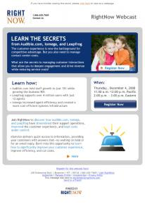 RightNow Technologies advertisement with boxes of text and an image of two children