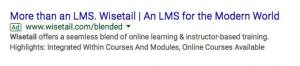 Google ad for Wisetail LMS