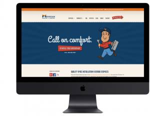 computer mockup of the Mountain Heating & Cooling website homepage