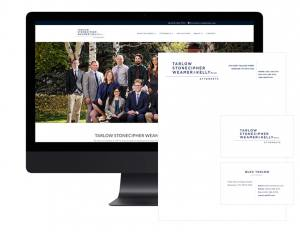 Tarlow Stonecipher Weamer & Kelly business cards and stationary and website mockup